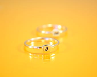 Three Initial Rings, Square Set Personalized Rings, Initial Jewelry, Custom, Sterling Silver Stacking Rings