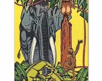 "Jungle Nursery Print (Boys Room Decor, Baby Girls Wall Art) ""Elephant & Monkey"" -- Fairy Tale Artwork"
