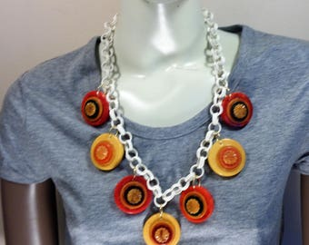 Upcycled Bakelite Necklace Bakelite Jewelry On Celluloid Chain Simichrome Tested Bakelite Long Chunky Upcycled Bakelite Necklace