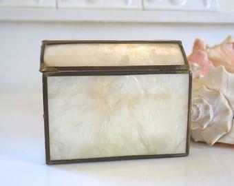 capiz shell trinket box hinged