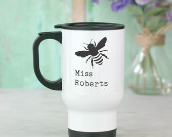 Bee personalised teachers travel mug with seeds gift set - grow your own! Add any name - Teachers gifts - gift for teachers - gift for her