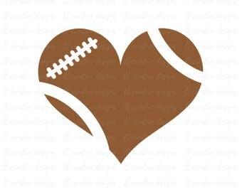 Football Heart SVG, Football Love SVG, Football SVG, Football Cut Files, Svg Files, Cricut Files, Silhouette Files