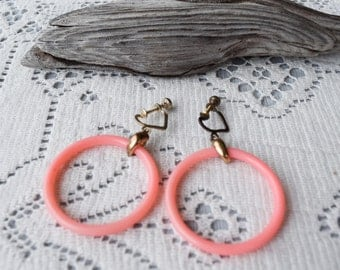 Vintage Peach Hoop Screwback Earrings