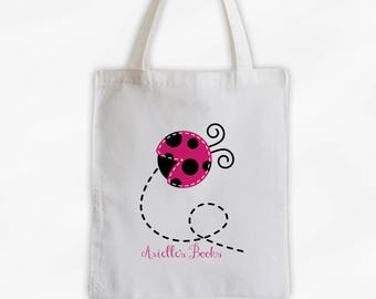 Personalized Ladybug Canvas Tote Bag - Custom Travel Overnight Book Bag for Girls in Hot Pink - Reusable Cotton Tote (3027)