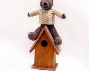 Gideon-Hand Knitted Bear