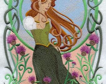 Art Nouveau Celtic Beauty Embroidered on Plain Weave Cotton Tea Towel // Iron-on Patch // Kona Cotton Fabric Square