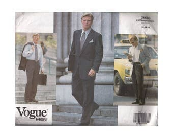 UNCUT Vintage 1990s Mens Dress Suit Sewing Pattern Vogue 2836 Chest 32 34 36 Below Hip, Notched Collar, Straight Leg Pants