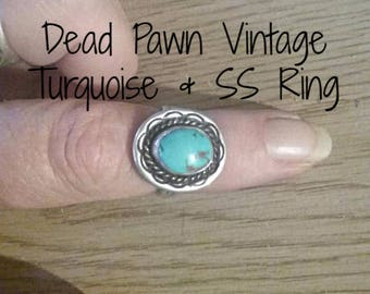 Vintage Dead Pawn Sterling Silver and Turquoise Ring - Ladies Vintage Rings - Dead Pawn Jewelry - Elusive Wolf