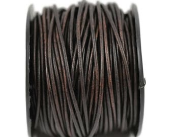 2mm Natural Antique Brown Leather - Distressed Matte Finish