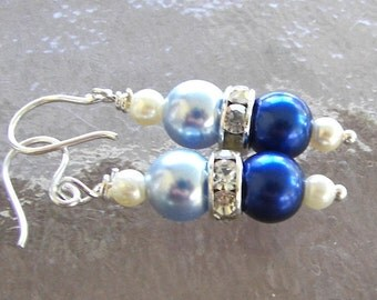 Light and Dark Blue Pearl  Earrings, Cornflower and Royal Blue Pearl Earrings, Bridesmaid Earrings, Wedding Earrings, Blue Wedding
