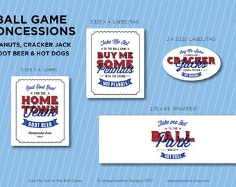 Take Me Out to the Ball Park, Baseball Printable Party, Ball Game Ball Park Baseball Theme, Concession Labels Tags