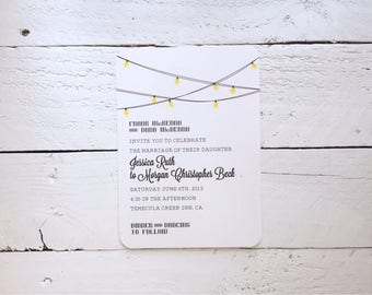 Romantic Whimsical String Lights and Pennant Flags, Personalized Wedding Invitations, Wedding Suite, Invitation Sets, Invite Sample