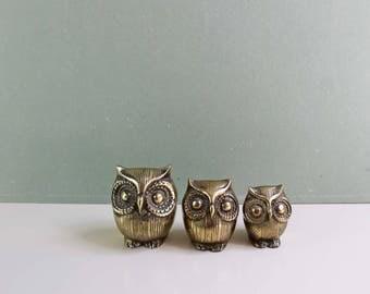 Brass Owl Trio, Vintage Brass Owls, Owls