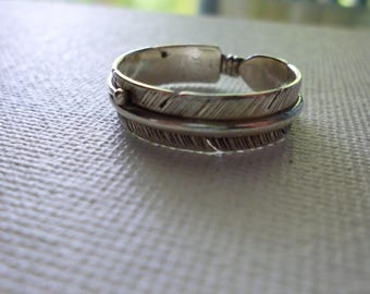 Sterling Silver Feather Band