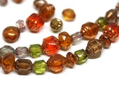 Cathedral beads mix Fire polished Czech glass beads mix Brown Topaz Red Green faceted beads Golden ends 20 gr - 1178