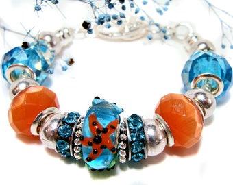 Aqua and Orange European Style Beaded Starfish Bracelet: starfish, aqua bracelet, orange bracelet, etsy handmade, shop etsy, gifts for her