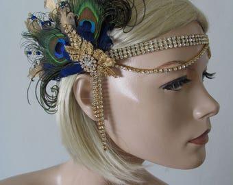 "Navy Gold Goose Peacock Feather + Lace Crystal Flapper Headband - ""Beth"" Gatsby Art Deco Fascinator 1920s Haloween Downton Abbey Headpiece"