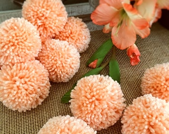 Peach Pom Pom Garland Yarn Pom Pom Garland - Baby, Nusery Decor, Bridal Shower Garland, Birthday, Wedding, Pom Pom Decoration  6 Ft.