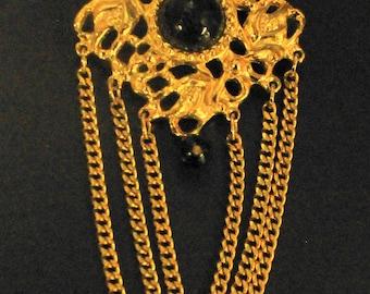 "Victorian Black GRIPOIX Gold Swag Chain 2"" Inch Heavy Gold Brooch 1980's Opulent Era"