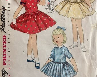 Vintage 1950s Simplicity Girls' Dress Pattern 1249 Size 6