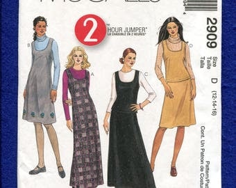 McCalls 2909 Scoop Neck Jumper or Top & A-Line Skirt Size 12..14..16 UNCUT