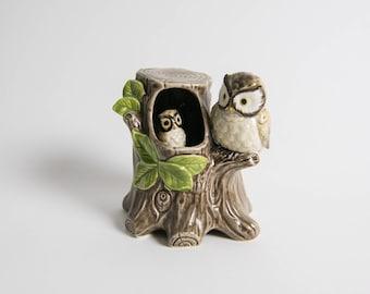 Vintage 1970s Japanese Otagiri Wind Up Musical Mama and Baby Owl Knick Knick Figurine