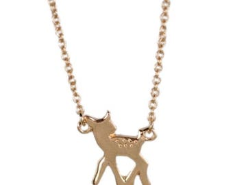 50% OFF SALE Baby deer, Fawn doe charm necklace, Tiny gold, cute woodland animal jewelry, Humane Society charity, adorable, enchanting