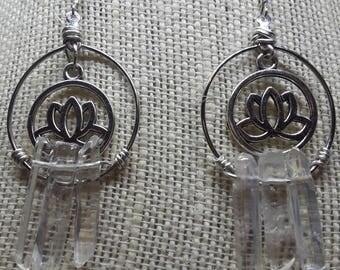 Clear Crystal Lotus Flower Dangle Earrings