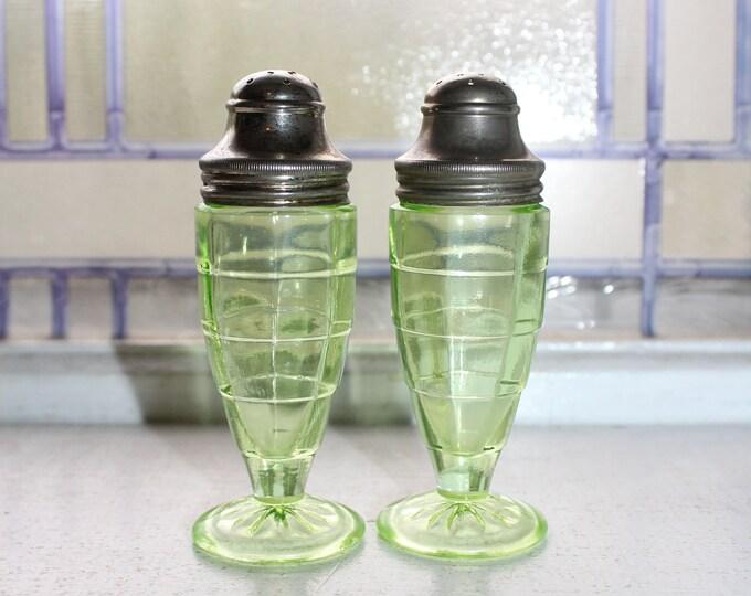 Green Depression Glass Salt and Pepper Shakers Block Optic