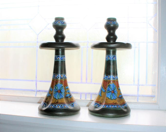 Antique Gouda Pottery Candlestick Holders Pair Anjer Pattern PZH