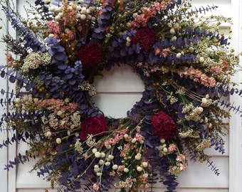 Dried Flower Wreath Purple Pink and White Flowers 20 Inch Indoor Wreath
