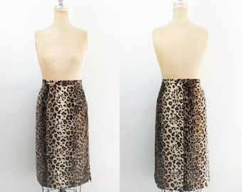 Vintage Faux Fur Leopard Skirt Leopard Pencil Skirt Cheetah Skirt Leopard Print Skirt Faux Fur Skirt Jaguar Skirt Plus Size Size 2X Size 22