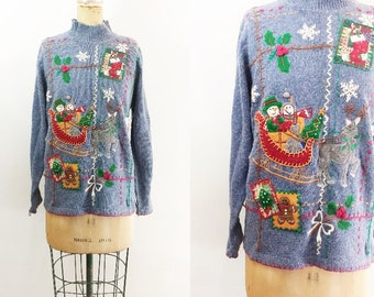 Vintage Christmas Sweater Vintage Snowman Sweater Ugly Christmas Sweater Christmas Applique Sweater Knit Christmas Sweater Medium Large XL