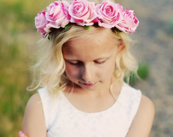 Pink floral flower girl headband or bridesmaid headband floral headband flower headband