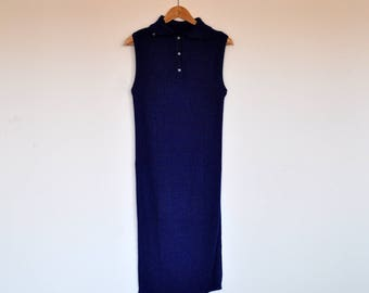 Vintage Sparkly Royal Blue Stretchy Ribbed Knit Sleeveless Collared Maxi Dress