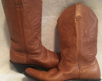 Vintage Leather Durango Cowboy Boots, Light Golden Brown Western Cowgirl SZ 6M