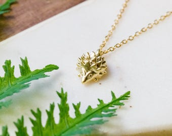 Unique hedgehog dainty necklace | Gold plated layering necklace | Gifts for her under 20 | Small animal jewelry | Cute gold necklace |