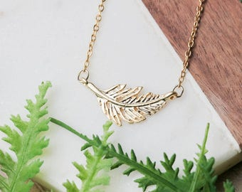 Dainty gold feather necklace | Gold plated layering necklace | Gifts for her under 20 | Mother Day gift | Leaf necklace | Delicate necklace