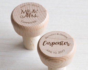 50 Personalized Wine Stoppers: Wine Corks, Wine Party Favors, Wedding Favors, Shower Favors, Wood Bottle Stoppers, Personalized Wine Corks