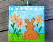 Tiny Painted Canvas Ornament with Bunny in the Flowers Original Mixed Media Artwork Mini Easter or Spring Ornament