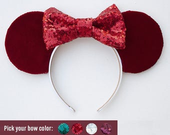 Valentine Red Mouse Ears / Red Velvet Mouse Ears / Mouse Ears for Holidays / Disneyland Ears / Disney / Hair Accessory / Gift for her
