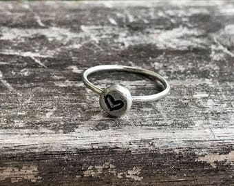 Sterling Silver Heart Ring / Simple Stamped Heart Ring / Promise Ring / Thin Minimalist Jewelry / Dainty Ring / Bridesmaids Gift