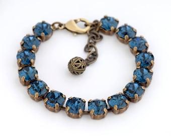 Deep Blue Swarovski Crystal Bracelet, Navy Rhinestone Bracelet, Montana Blue Crystal Jewelry, Crystal Tennis Bracelet, Gift for Her, Gorane