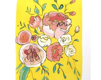 Modern floral bouquet art print - Lemon