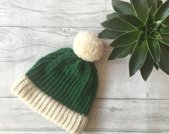 Green knit accessories, knitted beanie hat, festive hat, winter hat, green bobble hat, pom pom hat, autumn hat, warm hat, gifts for him, uk