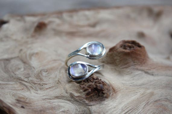 925 Silver Rainbow Moonstone Ring- ADJUSTABLE -Statement Ring- Sterling Silver Ring- Healing Crystal- Crystal Jewellery- Chakra- Gift