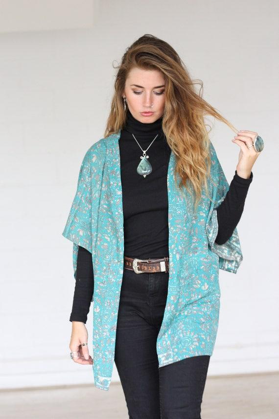 STEVIE CROP KIMONO - Silk Cardigan- Cover Up- Bohemian Kimono- Christmas- Party Outfit- Kaftan- Bespoke- 100% silk- Handmade- Gypsy- Fall