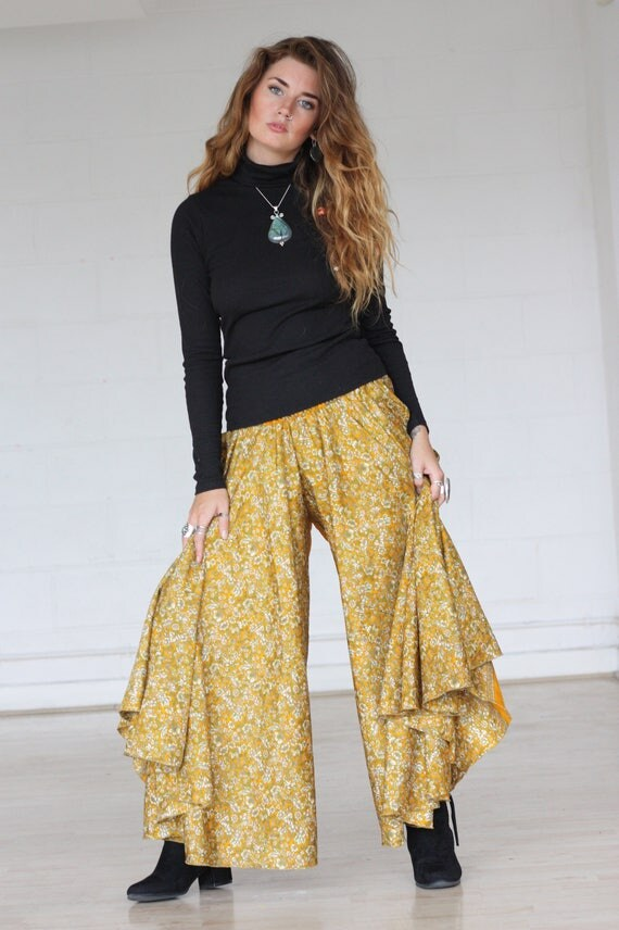 SUNSHINE MAXI FLARES - Limited Edition Silk Flares - Handmade - Vintage Sari - Festival - Hippie - Retro - Wide leg - Skirt - Maxi dress