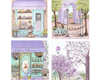 """Lavender Teal Girls Bedroom Wall Art Set Of 4 Personalized Girl Gift Paris Themed Party, Purple Paris Bedroom Decor - 6 Sizes-5x7"""" to 24x36"""""""