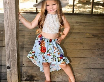 NEW!!! Idyllwilde Collection, Baby Skirt, High-Low Skirt, Floral Skirt, Girls Floral Skirt, Festival Skirt, Ruffle Skirt, Toddler Fashion